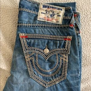 True Religion Size 32 Straight Rope Stitch Red